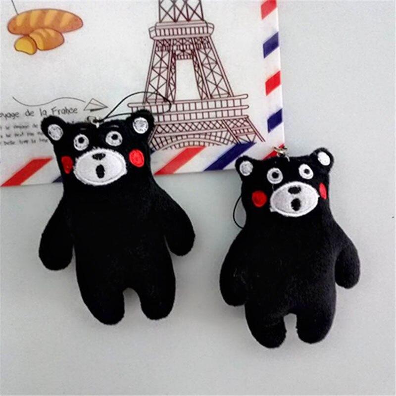 1 Cute Kumamoto Bear Plush Bag Mobile Phone Small Pendant Doll Mascot Black Toy Boutique Jewelry Gift
