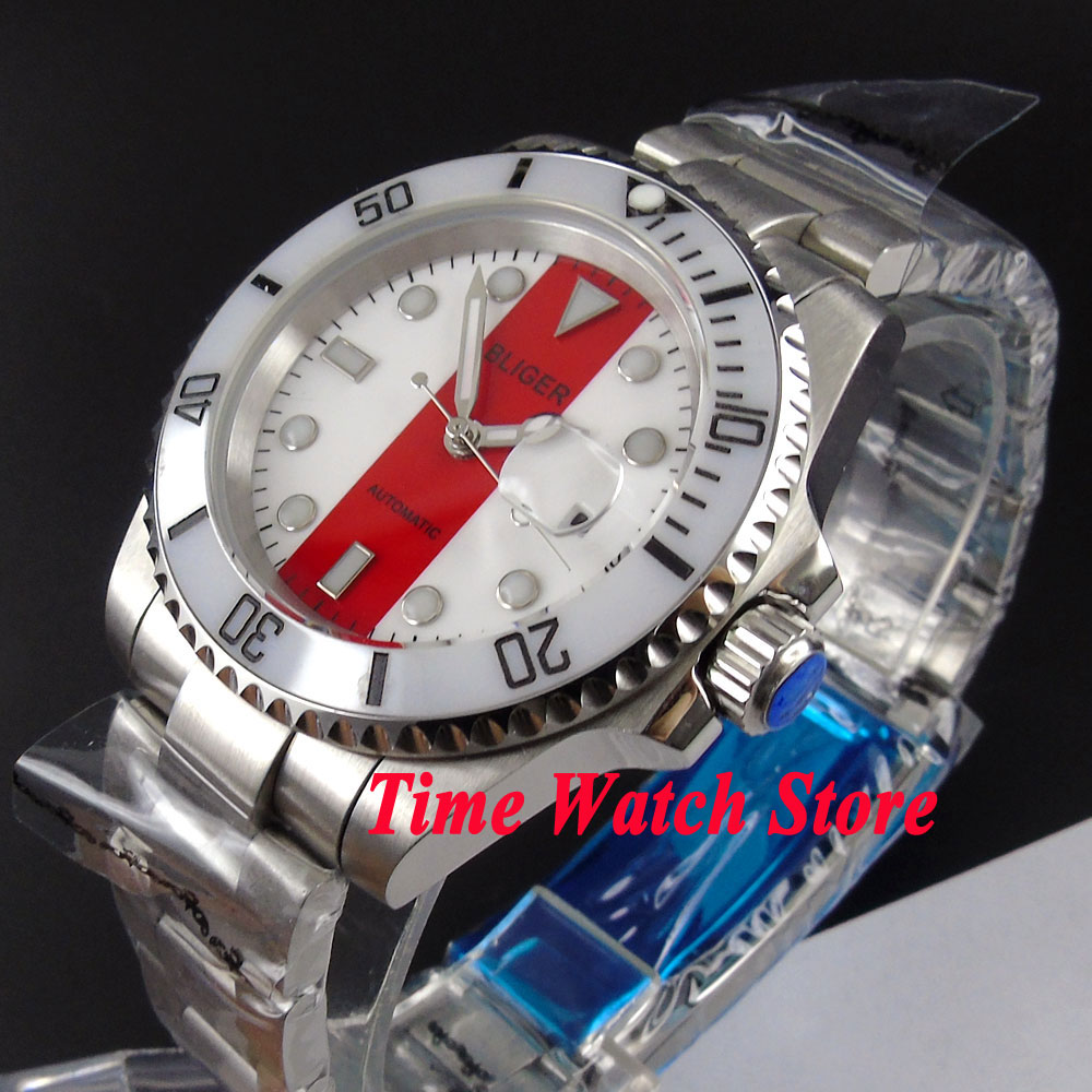 Bliger 40mm white red dial luminous saphire glass Ceramic Bezel Automatic movement  Mens watch BL117Bliger 40mm white red dial luminous saphire glass Ceramic Bezel Automatic movement  Mens watch BL117