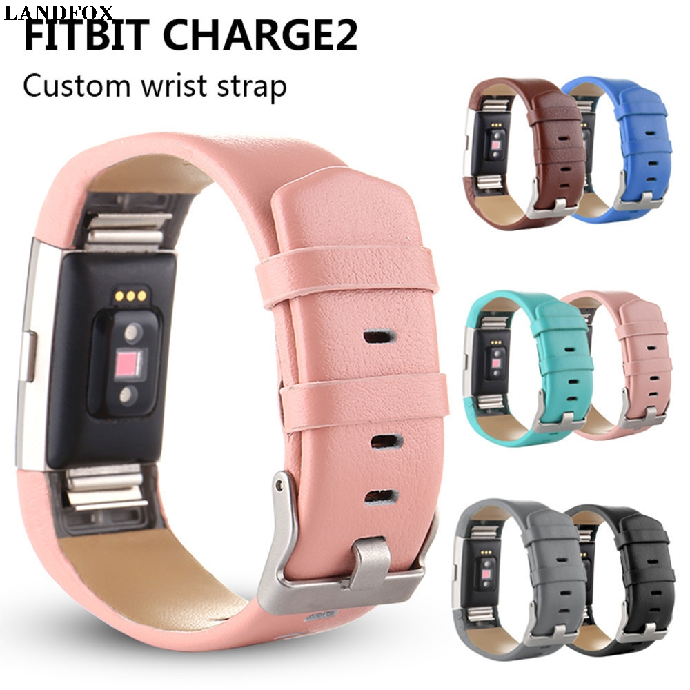 LANDFOX Sports Genuine Leather Watch Band Strap For Fitbit Charge 2 Wrist Band Bracelet Smart Watches Strap WristBand Bracelet N