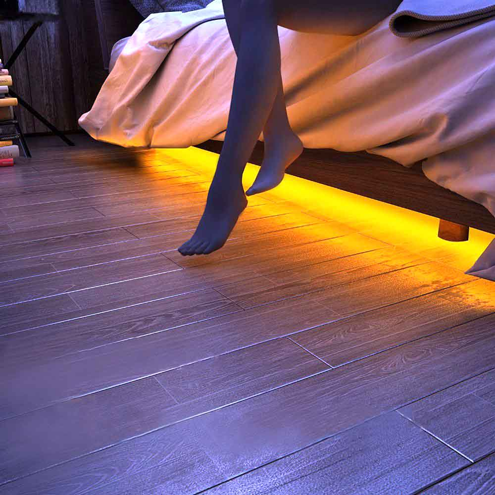 UNIBROTHER Under Bed Light, Dimmable Motion Activated 5ft LED Induction Strip, Bedroom Night Light Amber for Baby, Crib, Bedside