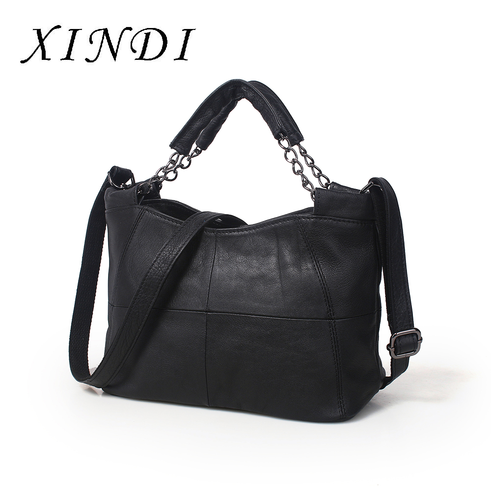 XINDI Brand Genuine Leather Bags For Women Luxury Handbags Women Bags Designer Cowhide Shoulder Bag Ladies 2018 crossbody bag цена
