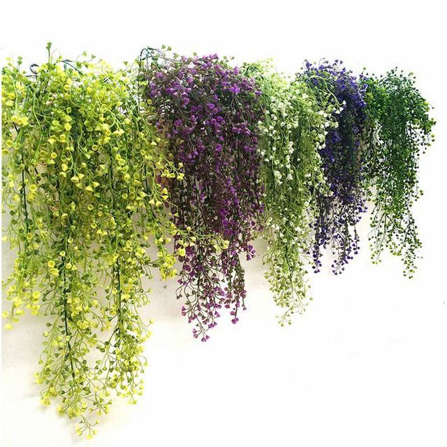 Hoomall Зеленый Фиолетовый Искусственный завод шелк ротанга стены цветок завод Свадебная вечеринка Декоративные искусственные цветы лоза рождественские украшения для дома