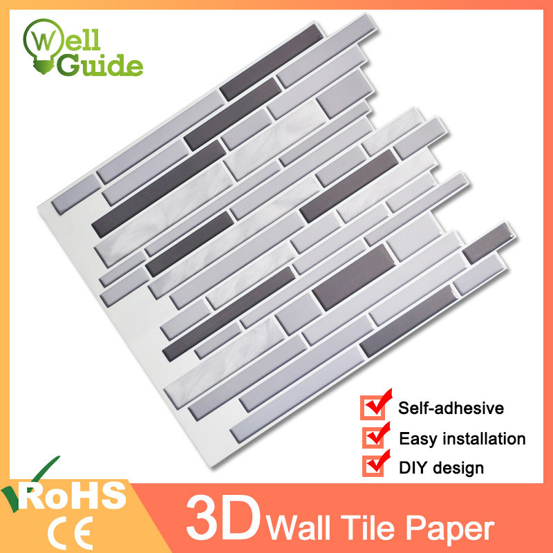 Wall Paper 3D White Grey Marble Brick Self-Adhesive Wall Stickers Waterproof For DIY Home Wall Decal Sticker Kitchen Bathroom