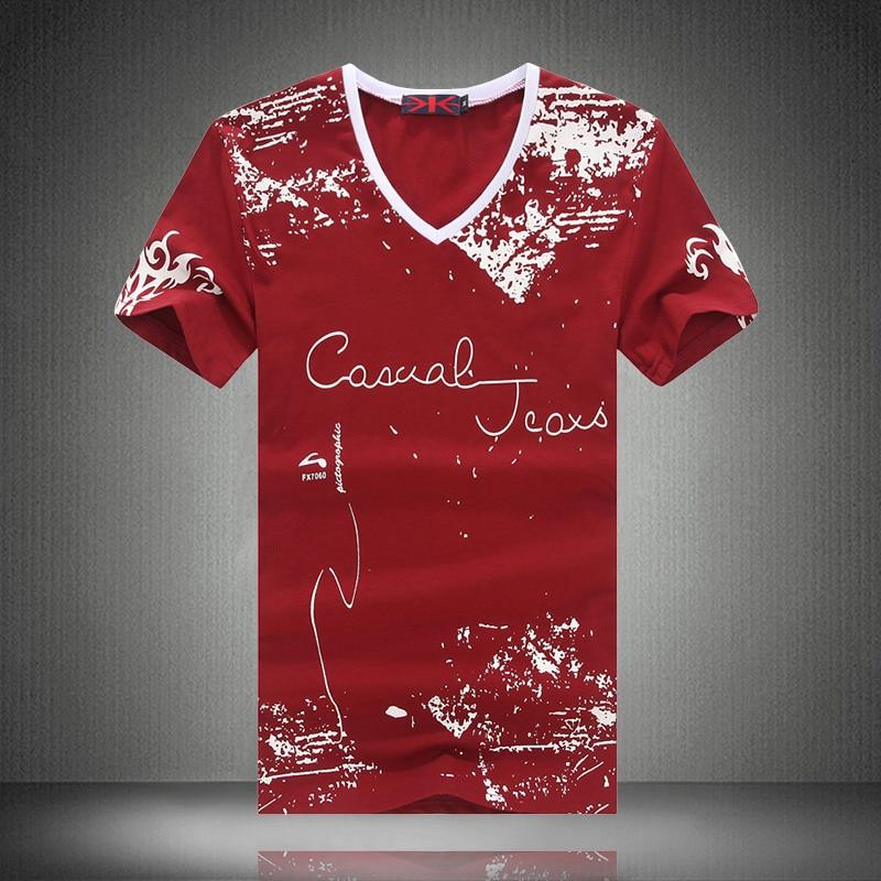 Cool design printed t shirt 2016 summer v neck for Promotional t shirt design