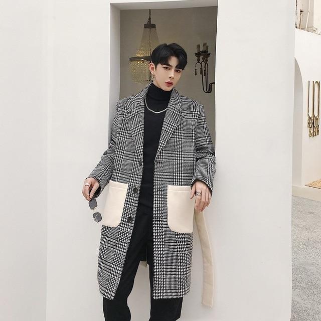 2018 Корейский осень Мужская мода прилив High Street решетки картина орфографии Цвет шерстяное пальто свободные серый пальто M-XL