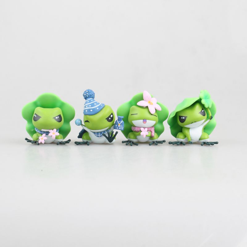 4pcs/set 2018 New Game Cartoon Travel Frog PVC Cute Frog Dolls Action Figures Ornaments Toys Gift 6pcs set disney trolls dolls action figures toys popular anime cartoon the good luck trolls dolls pvc toys for children gift