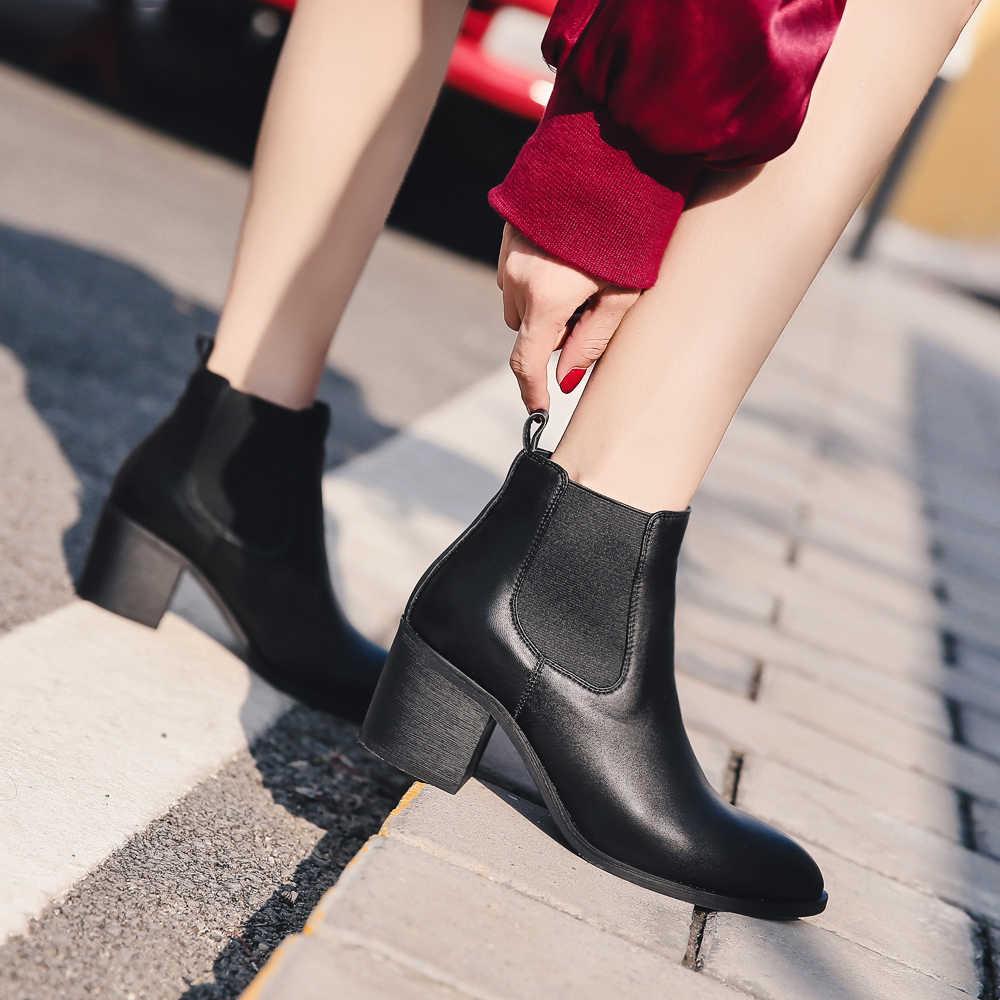 Donna-in 2017 yeni stil deri ayak bileği çizmeler sivri burun, kalın topuk elastik kadın kısa çizmeler büyük boy kadın ayakkabı