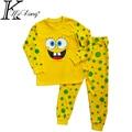 New 2-7 yrs kids girl&boy spongebob children clothing set bob esponja ropa ninos 2015 moda infantil ropa bebes conjuntos MK-TQBB