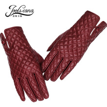 JOOLSCANA women gloves genuine leather fashion winter touch screen glove made of Italian imported sheepskin mitten tartan design cheap Gloves Mittens Plaid women 3 Fur Genuine Leather Wrist Adult Black one size people whose plam is 16cm-19cm all can wear