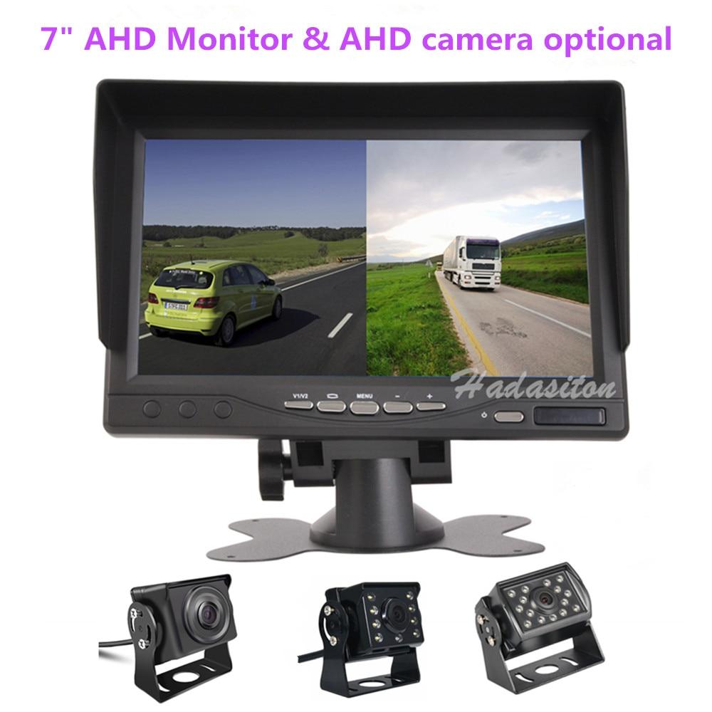 Горячие Новые 7 дюймов ips 2 с разделенным экраном 1024*600 AHD автомобильный монитор Автомобильный видеорегистратор DVR или AHD фронтальная камера/камеры заднего вида по желанию