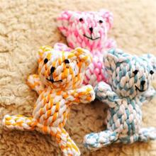 New Portable Pet Rope Dog Cotton Chew Toy Dog Knot Cartoon Bear Puppy Toy