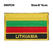 Литовский Флаг Патчи Наклейки на футболки военные патчи теплопередачи PT0103-R