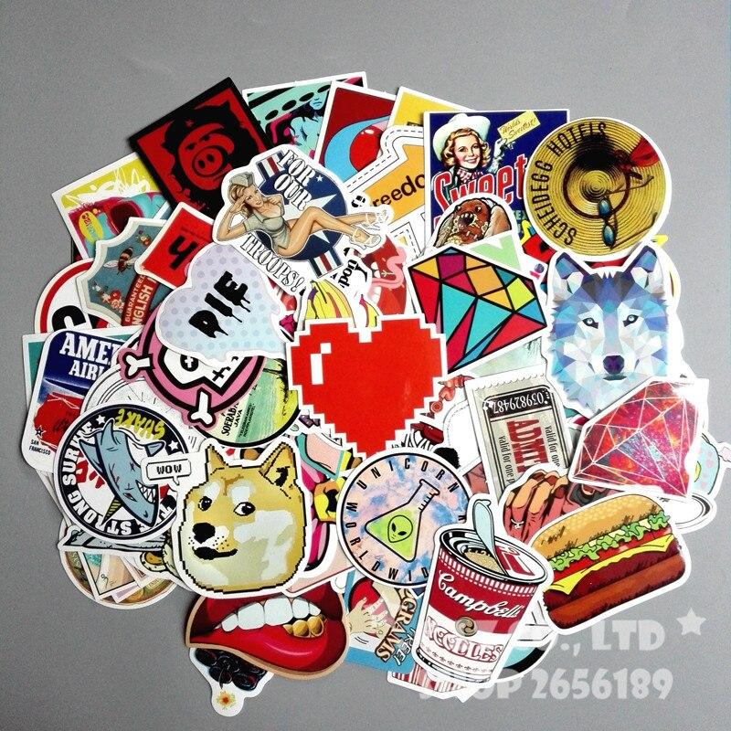100pcs/set Wolf Doge Street Sexy Girl hamburger Banana Sun luggage graffiti stickers tag creative toy suitcase paster