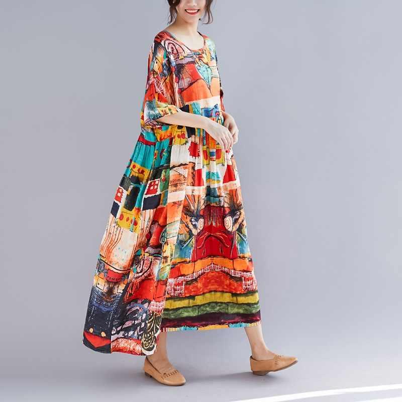 黄色コットンリネンヴィンテージプラスサイズ女性カジ夏ドレスエレガント vestidos 服 2019 レディースドレスローブ