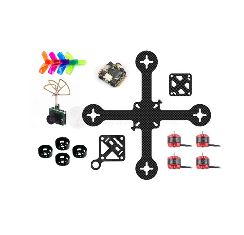 DIY 110mm FPV brushless micro indoor drone pure carbon fiber frame kit PNP D1104 7500KV motor Super_F3 flytower 16mm x 16mm lantian rc 1104 kv7500 brushless motor micro motor for fpv indoor drone spare parts accessories