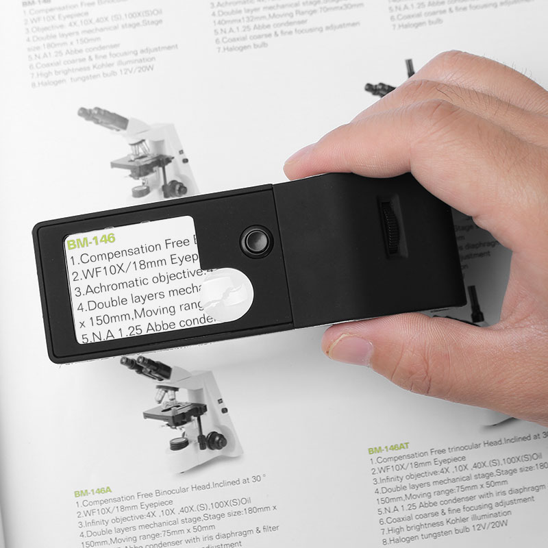 Multifonction Compact Loupe 3X/10X6 LED et UV Éclairage 55X Microscope 4-vitesse Interrupteur Détecteur De Poche Jewelers Loupe PU Sac