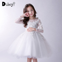 New Teenager Girls' White Wedding Birthday Party Princess Dress Autumn Winter Elegant Flower Girl Lace Long Dress At Prom
