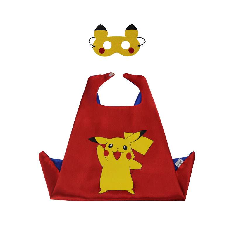 Pikachu Cloak 70*70cm Child Pikachu Costume Cape Mask Birthday Girl Gift Anime Character Cosplay Kids Party Halloween Decoration