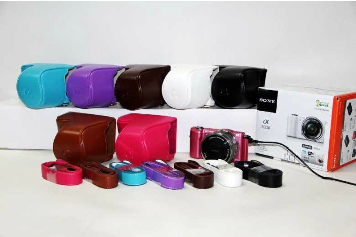 Digital 16 For Lens Sony A5000 Bag Pu Case Cover Camera Leather 50mm 8wO0yvnmNP