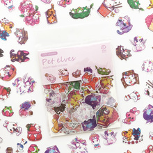 100 pcs/pack Cartoon Girls Cat Stickers Cute Animals Pet EIf Food Decoration Scrapbooking for Diary Album Students Gift
