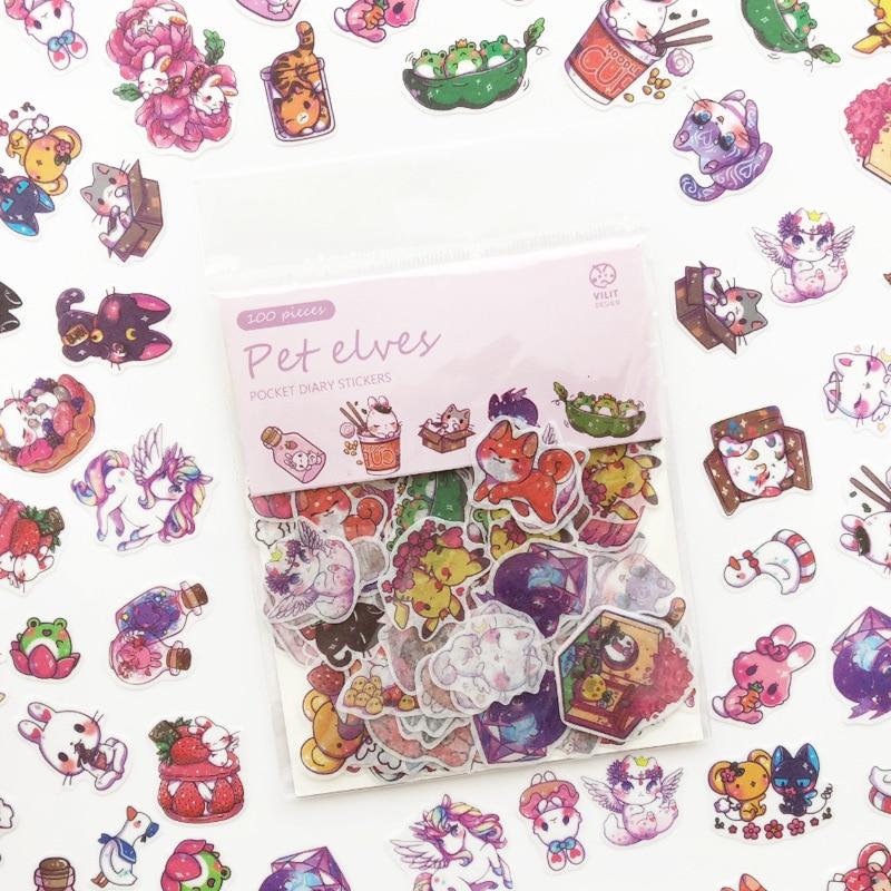 100 pcs pack Cartoon Girls Cat Stickers Cute Animals font b Pet b font EIf Food