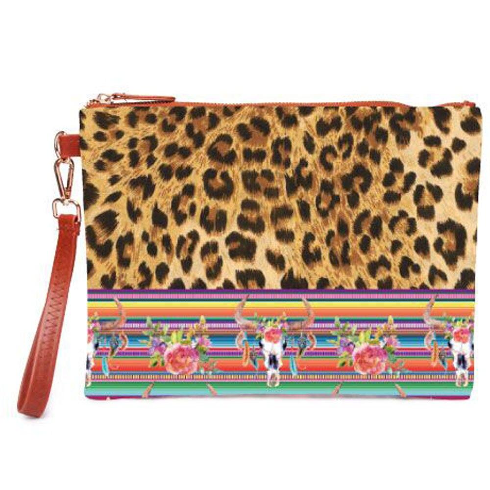Fashion Makeup Bag Women Soft Cnavas Leopard Cosmetic Travel Hanging Toiletires Ladies Zipper Purse Organizer Wristlet Clutches