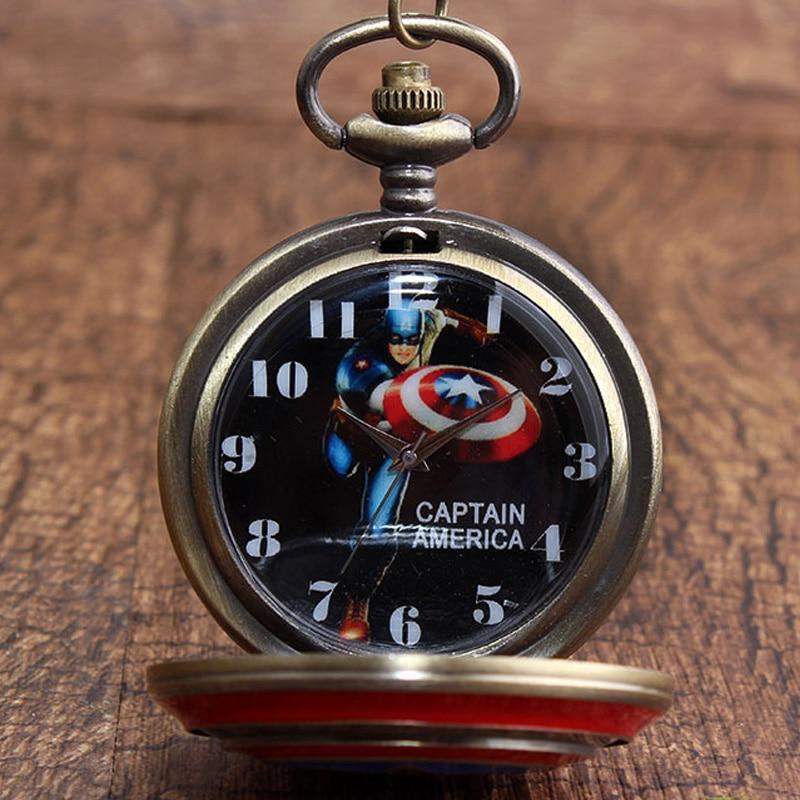 Bronze Fashion Pocket Watch Necklace Women Quartz Fob Watches Cartoon Star Wars Captain America Transformer Super Spider Batman Watches