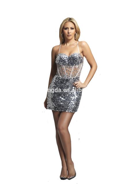 Vestido de cóctel con cuentas blusa escarpada con correas de lentejuelas sexy vestido de partido de las mujeres
