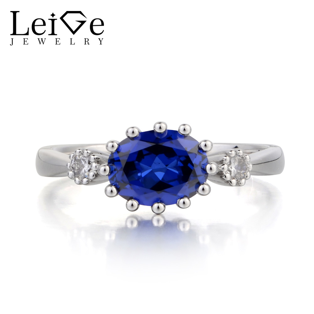 Leige Jewelry Wedding Ring Blue Sapphire Ring September Birthstone Oval Cut Blue Gemstone 925 Sterling Silver Ring Gifts for Her leige jewelry oval cut lab blue sapphire promise ring 925 sterling silver ring gemstone september birthstone halo ring for her