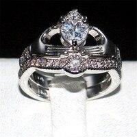 Choucong Claddagh In Possesso di Cuore di amore 5a Zircon Crown Wedding Ring oro bianco 10KT riempito regalo Gioielli di Cristallo formato 5-10