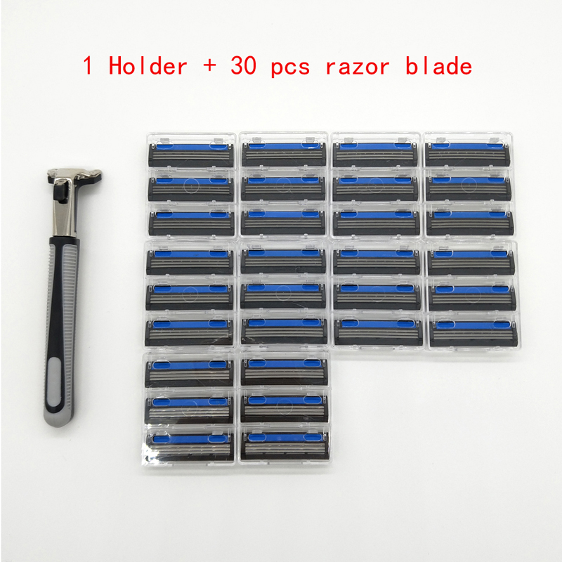 30Pcs Shaving Razor Blades + 1 Razor Holder Stand Beard Shaver Blade For Men Sharp Safety Razors Blade Sharpener Replace Head 7pcs makeup brush set professional face eye shadow eyeliner foundation blush lip make up brushes powder liquid cream cosmetics