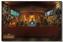 Custom Canvas Wall Mural Avengers Infinity War Poster The Last Supper Sticker Marvel Superhero Decals Thor Hulk Wallpaper #2883#