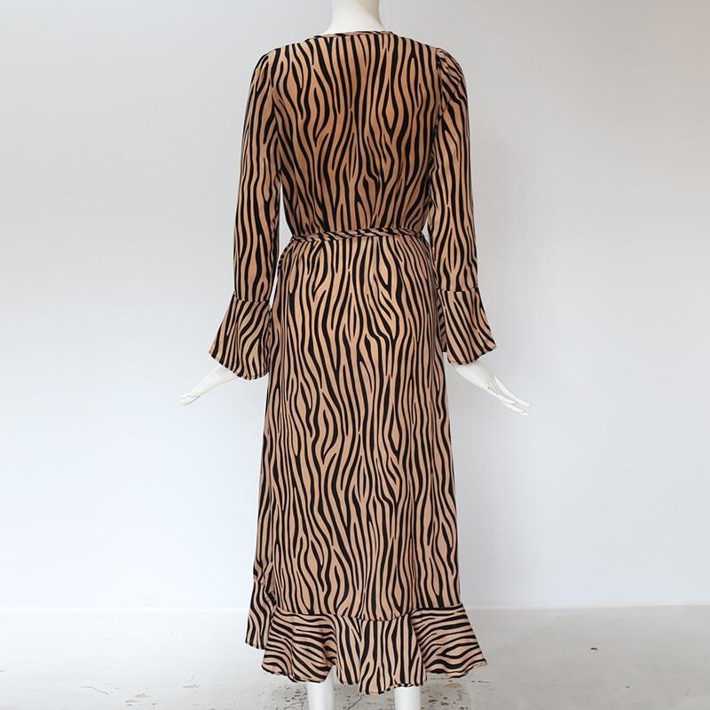 Long Dresses 19 Women Zebra Print Beach Bohemian Maxi Dress Casual Long Sleeve V Neck Ruffles Elegant Party Dress Vestidos 14