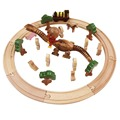 26pcs kids wooden toys Tomas and Friends railway train toys Circle Track set with wooden dinosaur and Anpanman doll