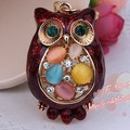 \FREE SHIPPING New Arrival 18K Gold plated Opal Owl Pendant Fashion Car Keyring Keychains Souvenir