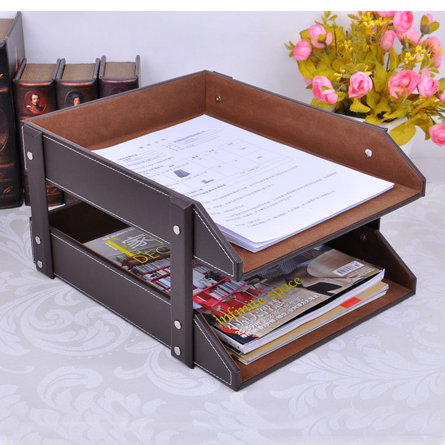 Double Layer A4 Detachable Office Wooden Leather Document Magazine Rack  Tray File Organizer Holder Filing