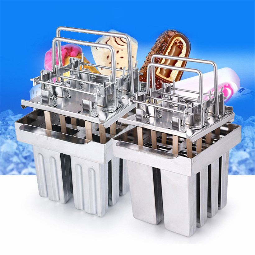 Stainless Steel Ice Pop Mould DIY Popsicle Ice Cream Molds 8 pcs/set with Sticks Holder Household and Commercial Use diy ice pop mold ice cream popsicle mould with sticks holder 304 stainless steel 8molds tray