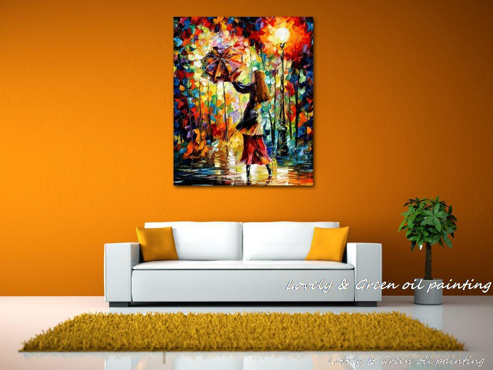 home office colorful girl. Handmade Rain Girl Colorful Palette Knife Figure Oil Painting On Canvas Modern Abstract Art Home Office Cafe Decoration No Frame-in \u0026 Calligraphy