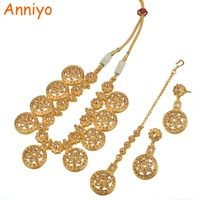 Anniyo Round Ethiopian Jewelry set Necklace With Resizable Rope/Forehead Chain/Earrings for Women Gold Color Arab/Egypt #015123