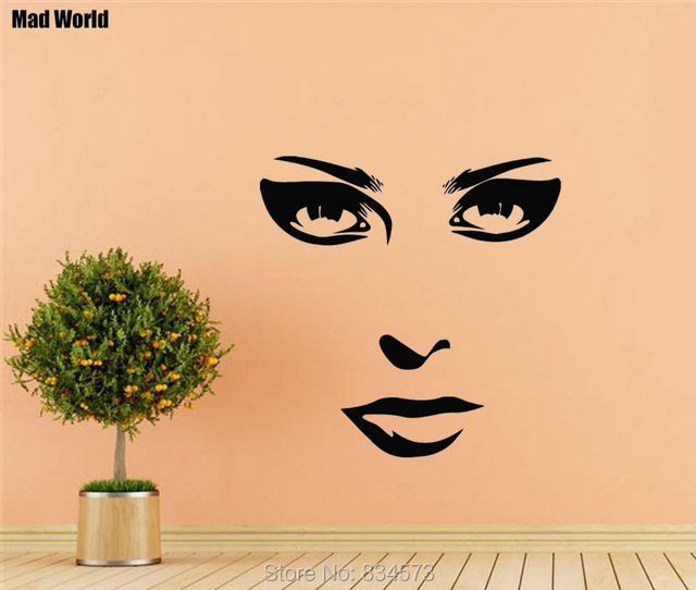 Mad World Beauty Salon Decor Girl Face Make Up Wall Art Stickers ...