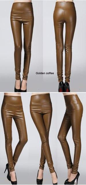 2019 Autumn winter Women legging skinny PU leather pencil Leggings slim faux Leather Pants female fashion thick fleece trousers 16