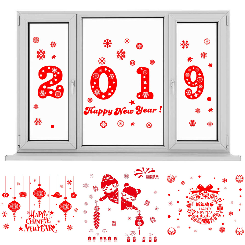 70x50cm Reusable Waterproof PVC Chinese New Year Spring Festival Electrostatic Wall Window Sickers Decals for Party Home Decoration Style A