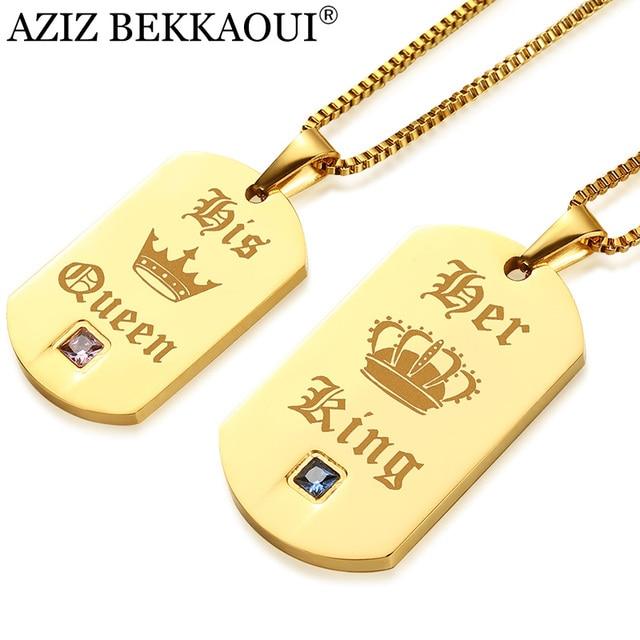 AZIZ BEKKAOUI Casal de Luxo da Cor do Ouro Colar de Pingente de Aço Inoxidável Colares Seu Rei & Rainha Dele para o Amante Dropshipping