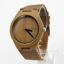 2015New Fasion japanese miyota 2035 movement wristwatches genuine leather bamboo wooden watches with gift box  Quartz watch стоимость