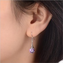 Everoyal Trendy 925 Sterling Silver Earrings For Women Accessories Charm Crystal Purple Round Drop Girls Lady Jewelry