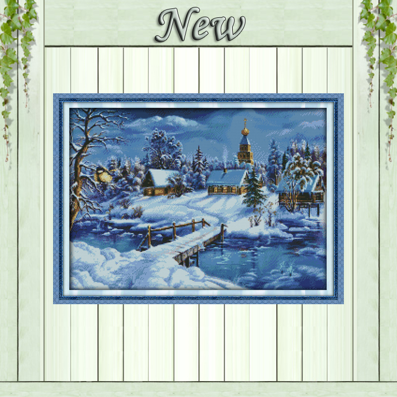 Schöne Schnee Nacht Muster Gezählt Kreuzstich 11CT 14CT Kreuzstich Set Großhandel kreuzstich Kits Stickerei Hand