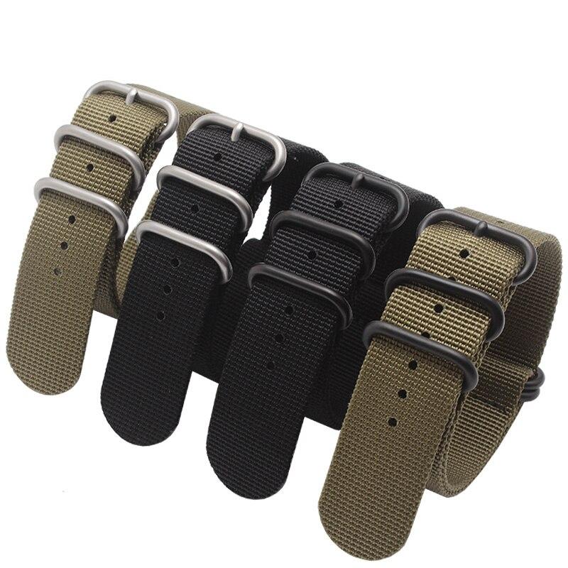 20mm 22mm 24mm 26mm náilon pulseiras de relógio à prova dwaterproof água pulseira com fivela de aço inoxidável preto exército verde cinta