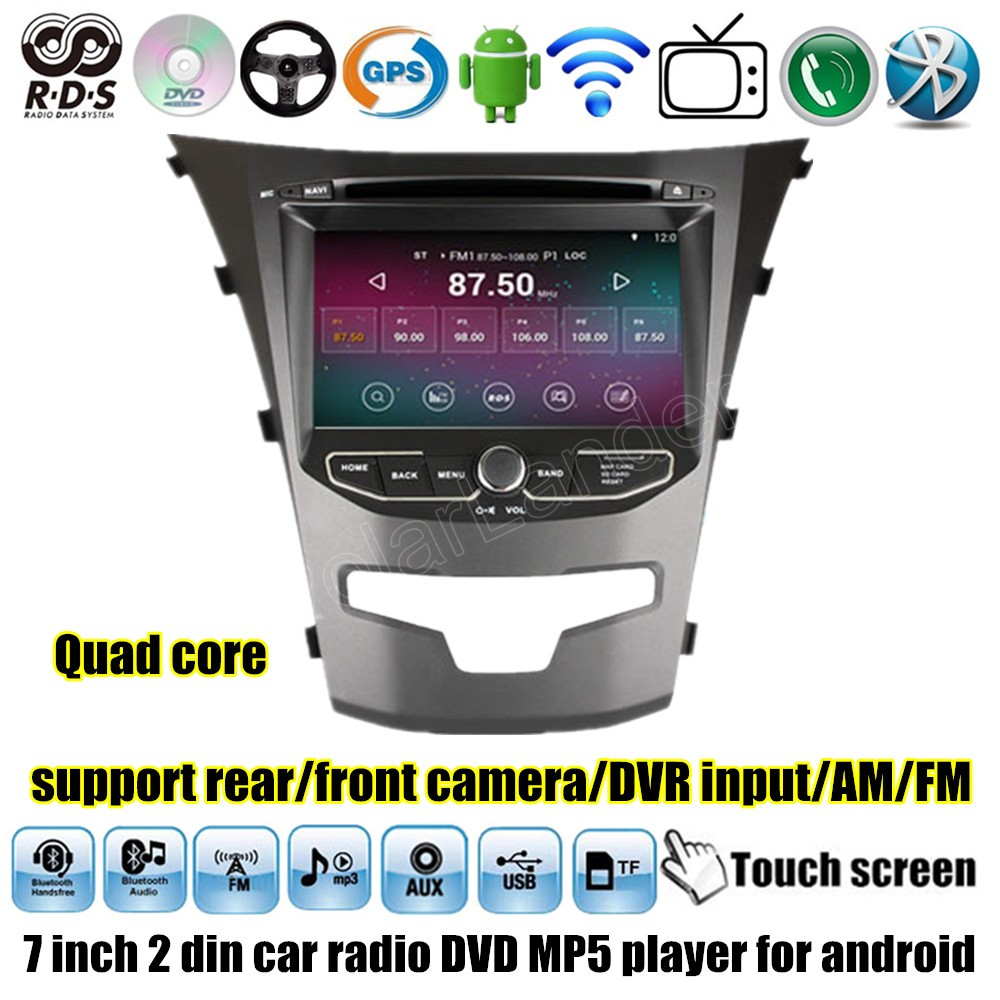 2 DIN Car DVD GPS Player Radio Stereo MP4 MP5 Video Audio 7 inch for Android 4.4.2 For Ssangyong Korando steering wheel control image