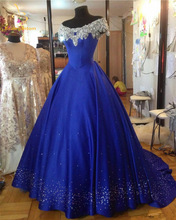 Bealegantom Royal Blue Satin Quinceanera Dresses 2017 Appliques Бисероплетение Sweet 16 Платья в течение 15 лет Vestidos De 15 Anos QD74