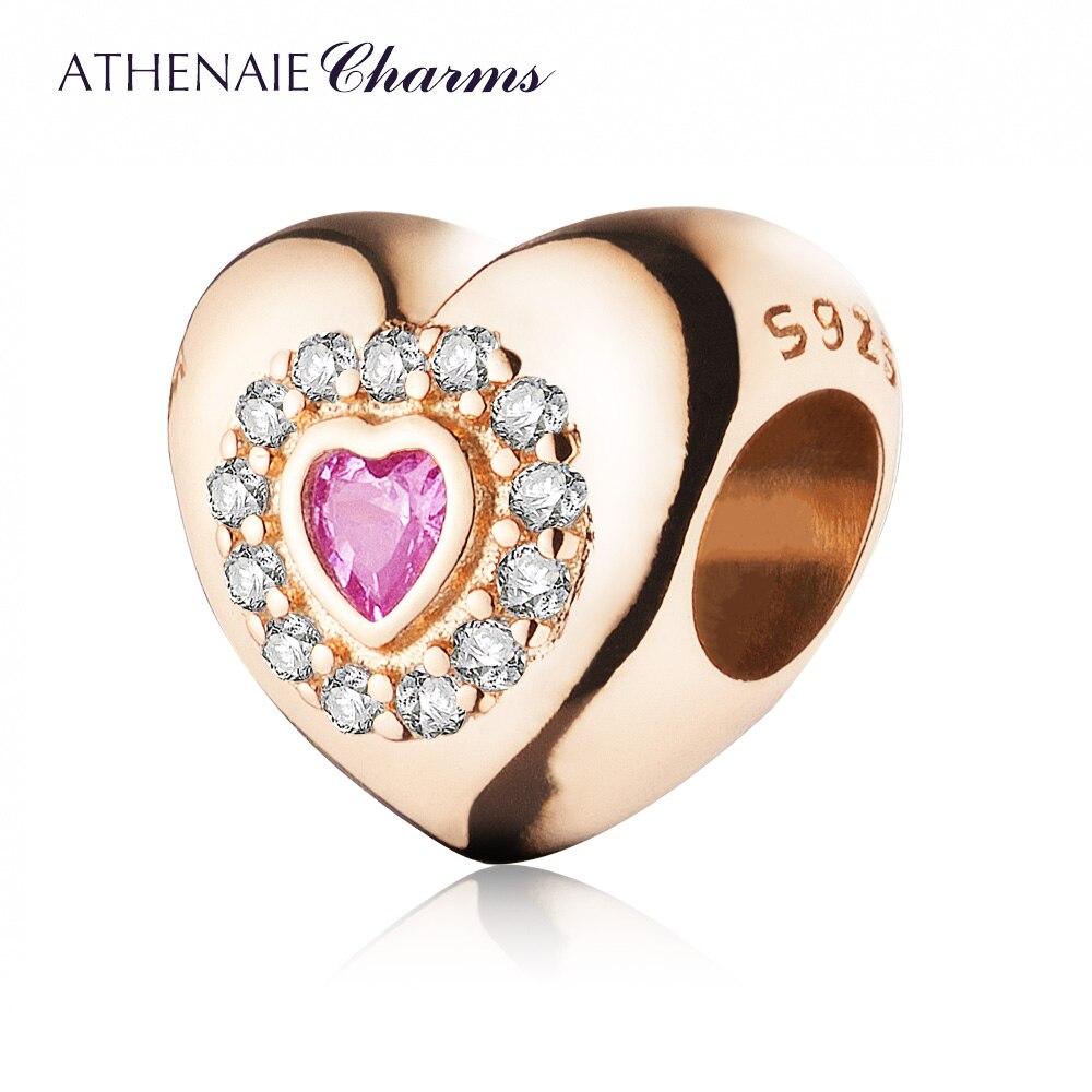 Athenaie Серебро 925 с проложить Ясно CZ в форме сердца Шарм Бисера Подходит Для Всех Европейский Браслеты Цвет розовое золото